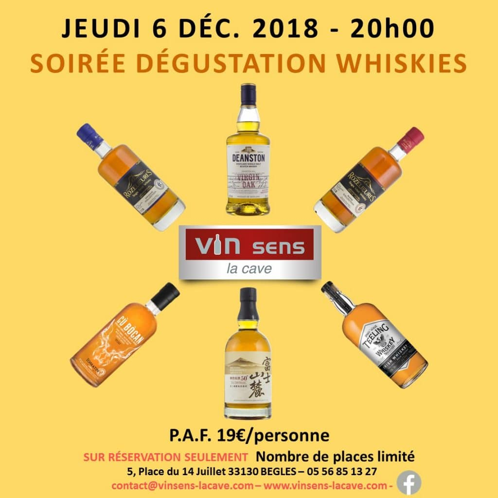 soiree-degustation-whiskies vin sens la cave begles